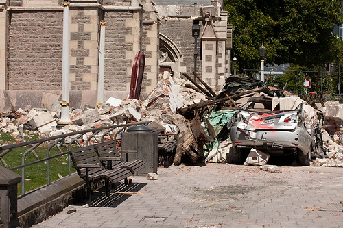 クライストチャーチ大聖堂前のダメージ